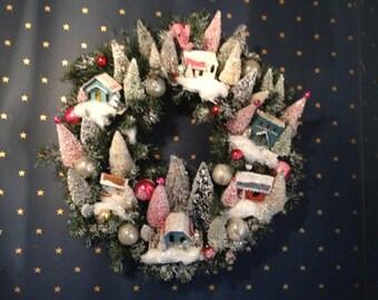 Putz Village Wreath style from Martha Stewart magazine cover