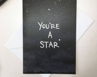 You're a Star card, A6 size, well done card, congratulations card, congrats, star, encouragement card, you can do it card, thank you card