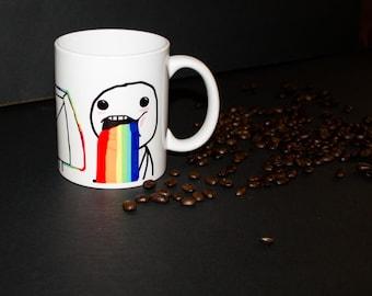 Rainbow Mug, Funny Mug, Meme Mug, Puking Rainbows Mug, Puking Rainbows, Funny Coffee Mug, Coffee Mug, Coffee Cup, Internet Meme Mug