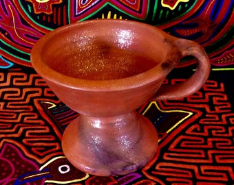 Small Custom Copalero with Handle for Burning Bowl Rituals and Shamanic Ceremony Mica Clay from New Mexico