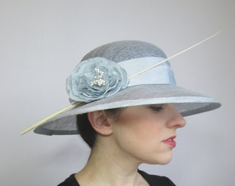 Blue Sinamay Hat - Womens Hat, Summer Wedding Hat, Races Hat, Ladies Occasion Hat, Mother of the Bride, Ascot Hat, Derby Hat, Wide Brimmed