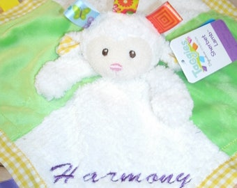 Lamb Taggie Personalized  Animal Security Blanket Blankie.. Custom Made Any Name & Color EMBROIDERED