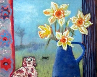 Original painting, Dogs and Daffodils, still life flower painting, landscape, folk art, springtime,