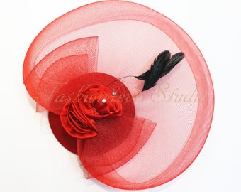 Red Headpiece 11 inches, Flower Fascinator, Feather Headpiece, Flower Fascinator, Feather Fascinator, With Hair Clip and Brooch Pin Back