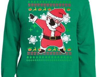 LiberTEES Big and Tall King Size Funny Dabbing Santa Ugly Faux Christmas Sweater