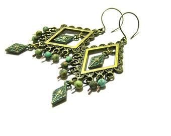 Turquoise Earrings, Diamond Earrings, Oxidized Earrings, Large Earrings, Bohemian Earrings, Turquoise Chandelier Earrings, Gift for Her