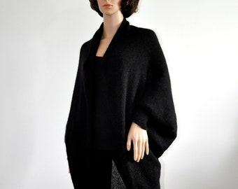 Cocoon coat Batwing Brown Cardigan with long sleeves Black Cozy Knit loose cardigan oversized shrug for women Boho Sweater  wrap jacket Wool