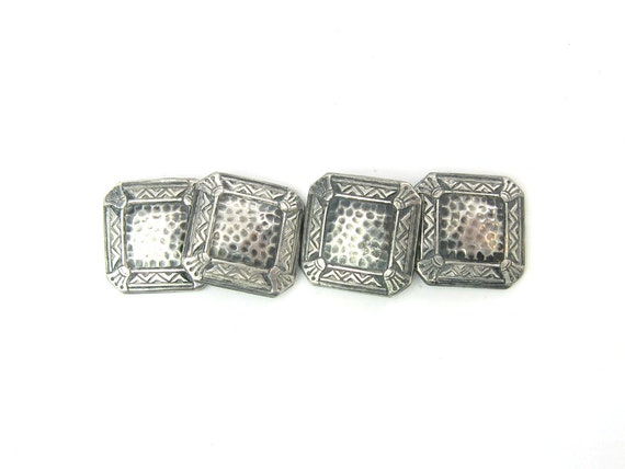 Men's Vintage Art Deco Sterling Silver Hammered Cufflinks