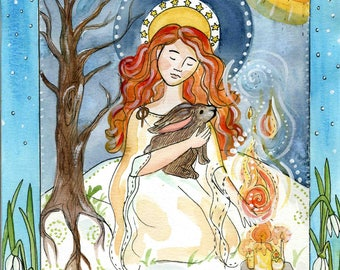 The Yearning of Her Heart - Candlemas and Imbolc Painting