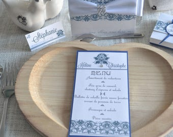 Elegant blue and white wedding MENU