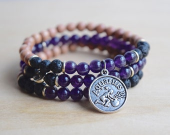 Zodiac Bracelet / aquarius zodiac gift for bestfriend, amethyst bracelet, layering bracelets, meaningful gift for aquarius gemstone