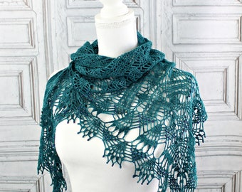 Wedding shawl, Crochet shawl, Triangle shawl, Handmade, Wool shawl, Gift for Mom, Lace shawl, Teal Shawl, Bridesmaid gift, Gift for her,
