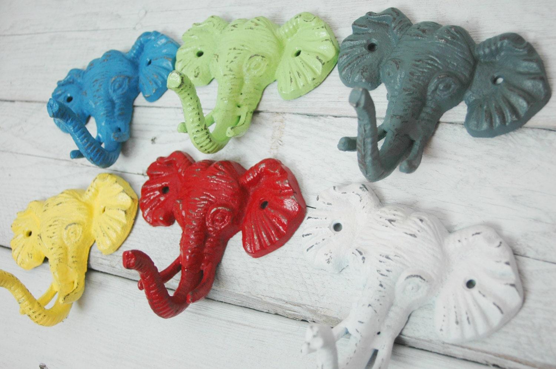 Elephant Head Hook Wall Decor DIY Painted Cast Iron