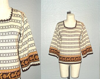 70s boho sweater HIPPIE STRIPED fall floral knit tunic - S/M