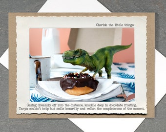 All Occasion T. Rex Card • Funny Foodie Card • Food Lovers Card • Inspirational Dinosaur Card • Mindful Greeting Card