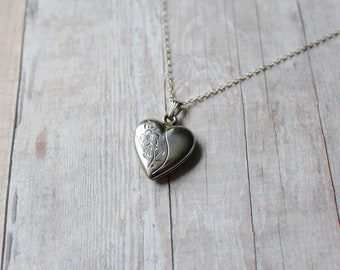 WEH Vintage Sterling Silver Heart Locket, Silver Filled Chain