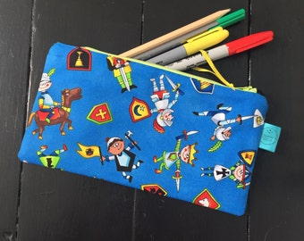 Knight pencil case, sword zip pouch, pencil pouch, accessory case, gadget bag, boy gift, back to school, medication colouring , coloring