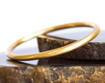Thin Gold Ring Solid 14k Brushed Gold Ring Sz 3 thru 8