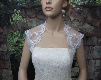 Ivory / white sleeveless bridal alencon lace bolero wedding bolero jacket