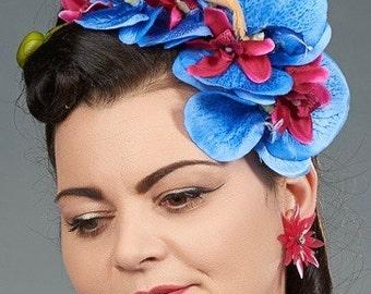 Vintage Deadstock Hot Pink Petal Burst with AB Rhinestone Clip On Earrings
