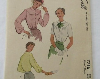 Vintage 1949 McCall's printed pattern, Misses blouse #7716, size 16