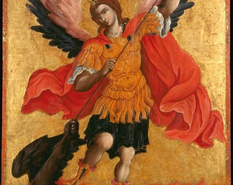 "Theodoros Poulakis : ""The Archangel Michael"" (c1650-1692) - Giclee Fine Art Print"
