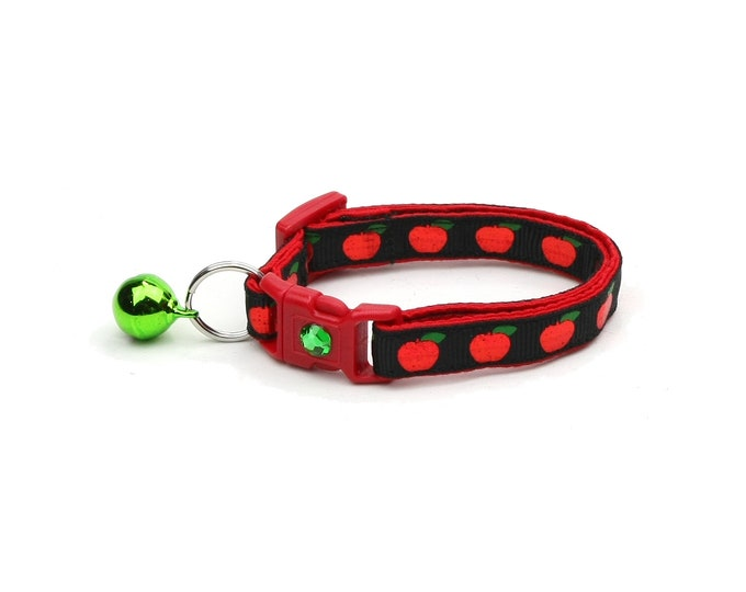 Fruit Cat Collar - Shiny Red Apples on Black - Small Cat / Kitten Size or Large Size