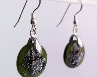 Olive green opaque glass earrings, sterling silver jewelry, kiln fired glass, fused glass and sterling silver earrings, made in the UK