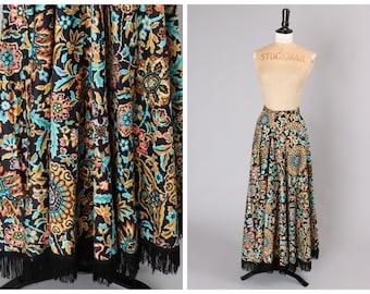 Vintage 1970s 70s Fringed Maxi Skirt