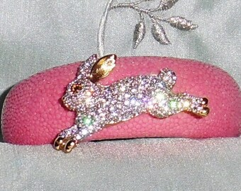 Exotic Stingray Pink Polished Exotic Leather, Signed Swarovski Crystal Rabbit Brooch, Cuff Bracelet