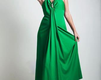 vintage 70s green hostess halter maxi dress empire rhinestone SMALL S