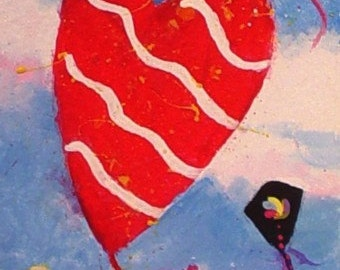 Original Painting * Mini ACEO * KITES In The WIND  * Small Art Format Painting by Rodriguez