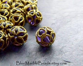 Filigree Beads, Lucite Beads, Vintage Beads, Purple Beads, Heart Bead, Round Beads, Unique Beads, 9mm, Boho Beads, Boho Charm, 10 Beads