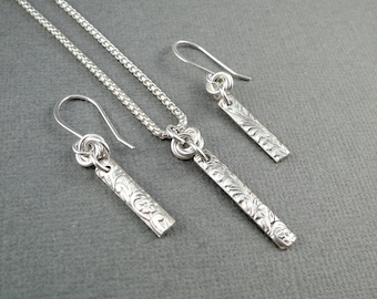 Silver Necklace Set, Silver Necklace for Women, Silver Pendant Necklace, Sterling Silver Bar Necklace, Silver Gift Items, 925 Silver Jewelry