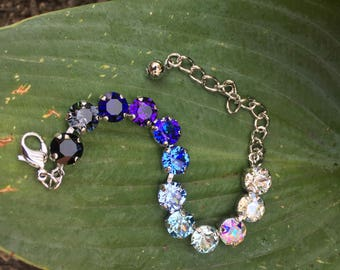 Ombre Clear Blue Purple BlackSwarovski Crystal Tennis Bracelet