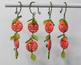 Set of 4 Jack O'Lantern Beaded Ornaments with Glass Leaf Detail