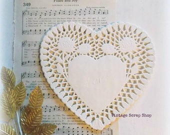 White Heart Paper Doilies / Lot of 5 / Junk Journal / Daily Planner