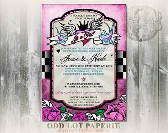 Rockabilly Baby Shower Invitation, Rock N Roll Baby Shower, Tattoo Baby Shower invitation, Pink Girl Baby Shower Printable Invite DIY