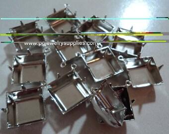 14mm square silvertone prong closed back 1 ring pendant setting 12 pc lot l