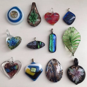 Art Glass Necklace Pendant Jewelry Lot