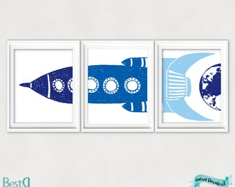 Set of 3 rocket prints,nursery boy printable,nursery room decor,baby room decor,rocket printable,blue rocket print,rocket nursery posters