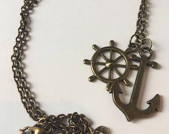 Anchor & Wheel Necklace