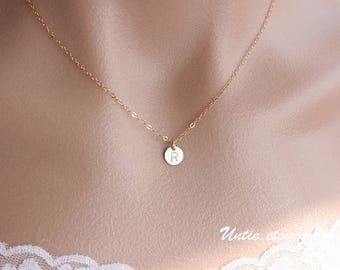 All 14k gold filled Customized  tiny Initial Disk ( 7mm) Necklace - personalized monogrammed Disk, Delicate Cute small simple, everyday wear