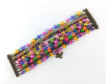 Flower Multi Strand Bracelet - Boho, hippie, gypsy, colorful, beaded, exclusive, unique, brazilian - Mixed colors (Purple/Pink/Green/Orange)