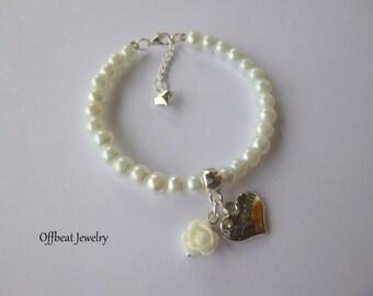 Flower Girl Bracelet, Flower Girl Charm Bracelet, Pearl Flower Girl Bracelet, Pearl Flower Girl Bracelet, Childrens Jewelry,