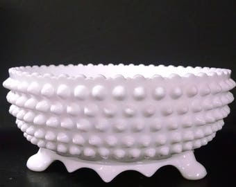 Fenton milk glass footed bowl. Hobnail