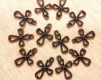 Copper Cross Charm, Antique Copper Vintage Cross Charm, 12 pieces, Antique Cross Charm, Bracelet Cross Charm, Copper Cross, Bead Source