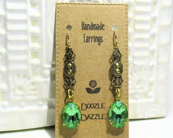 Peridot Glass Art Deco Earrings - Victorian - Dangle - Downton Abbey Inspired - Vintage setting - Boho - Trending