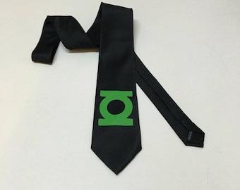 Green  Lantern Necktie on a black tie