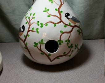 Gourd Birdhouse - Chickadees on White